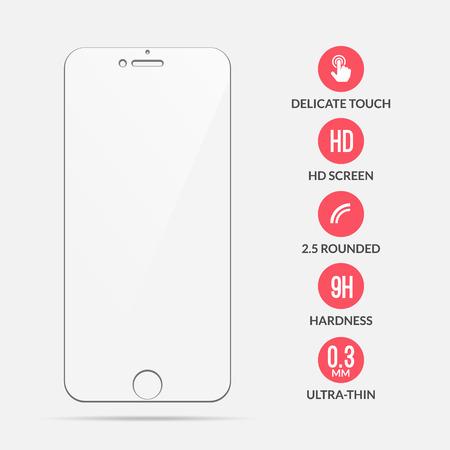 Protecteur d'écran en verre. Protecteur d'écran vectoriel pour smartphone. Accessoire de couverture mobile pour affichage. Vecteurs