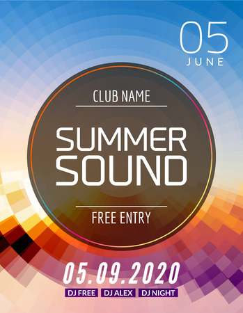newyear night: Music summer party poster graphic design. Disco dance flyer or poster template. Summer sound party event. Illustration
