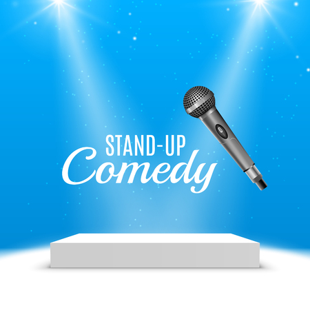 Stand up comedy event poster. Vector microphone illustration. Concert comedy show with stage. Illustration