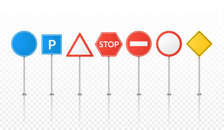 the roadside: Road signs isolated. Vector street signs illustration. Road symbols design. Illustration