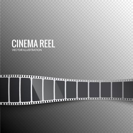 Vector film strip. Movie 3d filmstrip background. Film reel picture cinematography.