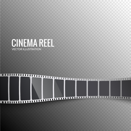 Vector film strip. Movie 3d filmstrip background. Film reel picture cinematography.