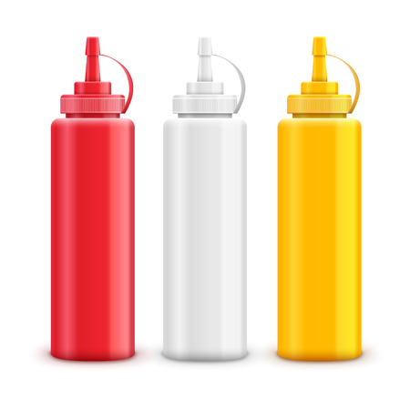 Vector condiment ketchup mayonnaise mustard. Food taste ingredient. Bottle or container red, white and yellow. Illustration