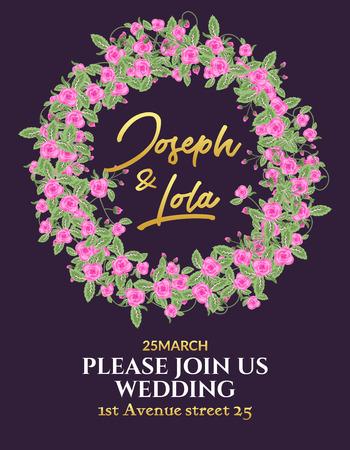 Wedding invitation flower card design. Invitation template for anniversary celebration. Decorative elegant floral marriage ornament pattern.