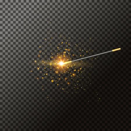 투명도에 마술 지팡이 그림입니다. 동화 마술사 트릭. 빛 기적 배경입니다. 마법봉.