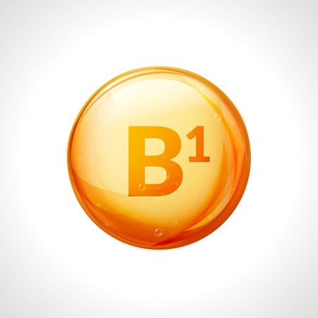 Vitamin B1 isolated on white. Medicine health symbol of thiamin. Natural chemical b1 vitamin.