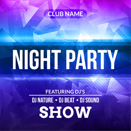 Night Dance Party Poster concert Background Template. Vector DJ Club music poster flyer