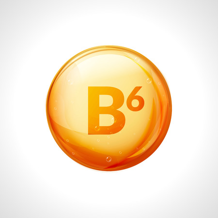 Vitamin b6 pill icon. Pyridoxine nutrition care. Gold drop essence. Isolated golden vector symbol of b6 vitamin medicine. 일러스트