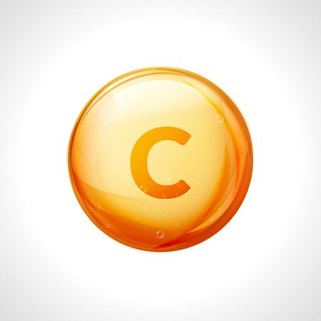 Vitamin C golden vector treatment. Vitamin gold oil pill icon. Skin care natural nutrition. Ascorbic antioxidant acid drop. Orange medicine capsule.