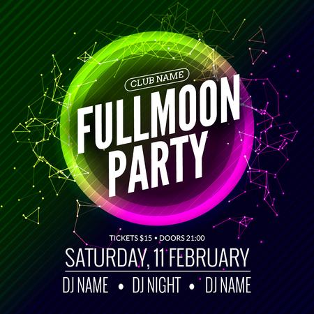 flashlights: Fullmoon party design flyer. Disco party night. Vector dance poster template. Moon light illustration. Illustration