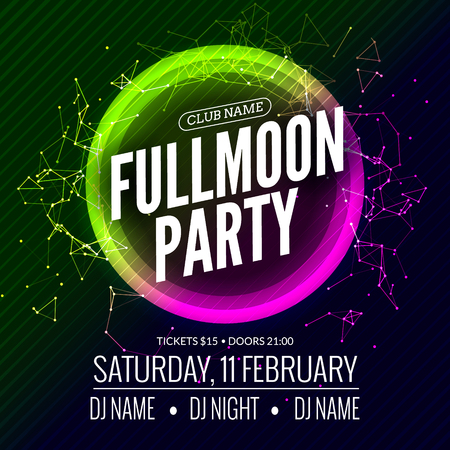 Fullmoon party design flyer. Disco party night. Vector dance poster template. Moon light illustration. Illustration