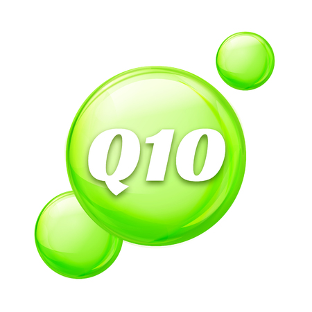 vitamine: Coenzyme Q10. vector oil icon. Treatment drop pill capsule. Q10 skin care wellness.
