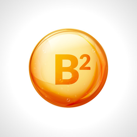 Vitamin B2 gold essence. Riboflavin drop pill vitamin treatment. Golden vector natural medicine isolated icon.
