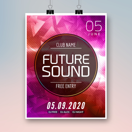 dancing club: Future sound music party template, dance party flyer, brochure. Party club creative banner or poster for DJ. Illustration
