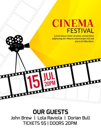 Cinema festival poster template. Vector camcorder and line videotape illustration. Movie festival art background. Illustration