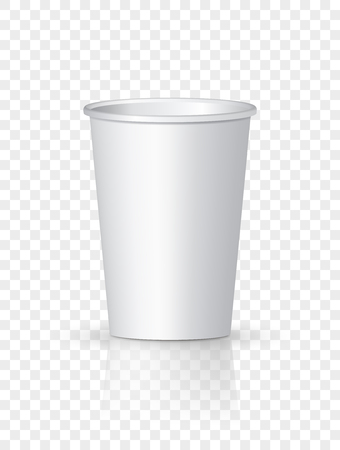White Paper Coffee Cup isolated. Cardboard vector cup container for tea or coffee.