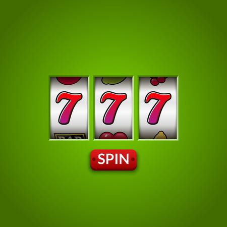 Lucky seven 777 slot machine. Casino vegas game. Gambling fortune chance. Win jackpot money. Illustration