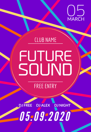 dancing club: Future sound music party template, dance party flyer, brochure. Night party club creative banner or poster with DJ. Illustration