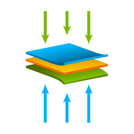 Vector fabric structure material isolated, Airflow layers moisture waterproof concept. Illustration