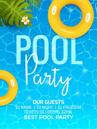 Zaproszenie na przyjęcie z okazji letniego basenu Zaproszenie na przyjęcie przy basenie z palmą. Projekt wektora plakatu lub ulotki.