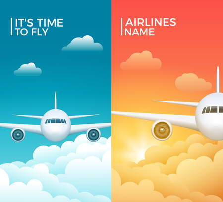 Travel airplane tourism vector banner design. World trip vacation background. Aircraft illustration.