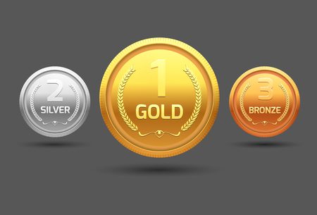 certificate template: Award medal gold silver and bronze. Champion metal ward for winner. Vector achievement.