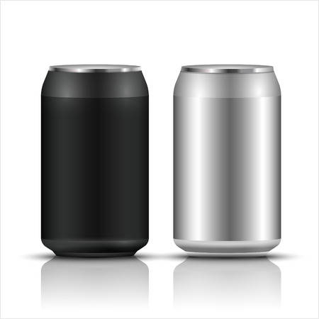 Aluminum tin can template blank packaging for drinks  water or beer soda, Cola or juice isolated container with shadow on white background Illustration