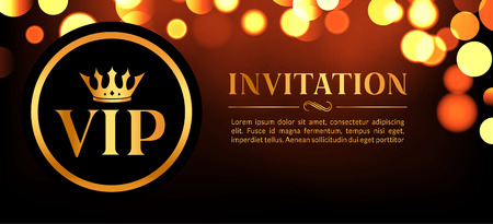 royals: VIP invitation card with gold and bokeh glowing background. Premium luxury elegant design.