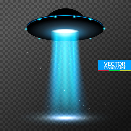 UFO light beam. Alien transport futuristic bright light in dark.