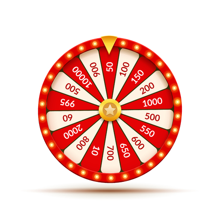 Wheel Of Fortune lottery luck illustration. Casino game of chance. Win fortune roulette. Gamble chance leisure. Illustration