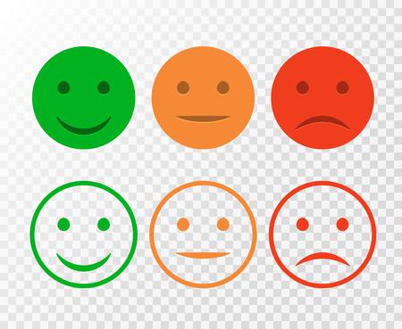 Smiley-Icon-Set. Emoticons positiv, neutral und negativ. Vektor isoliert rot und grün Stimmung. Bewertung Lächeln für Kundenmeinung isoliert.