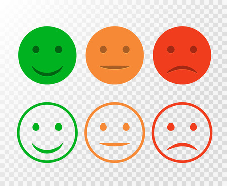 Smiley icon set. Emoticons positive, neutral and negative. Vector isolated red and green mood. Rating smile for customer opinion isolated.
