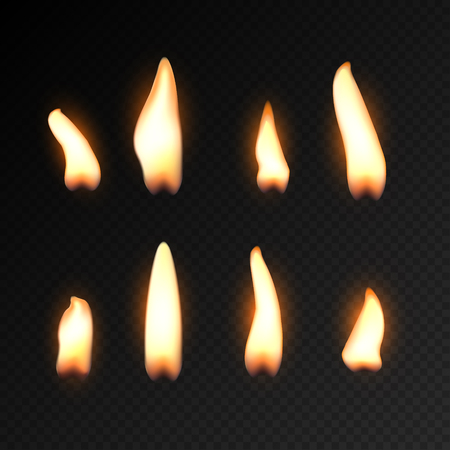 Candle fire flame isolated. Realistic candle bright flame decoration on black.