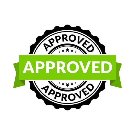 Approved seal stamp sign. Vector rubber round permission symbol for approval background. Stock Vector - 87611930
