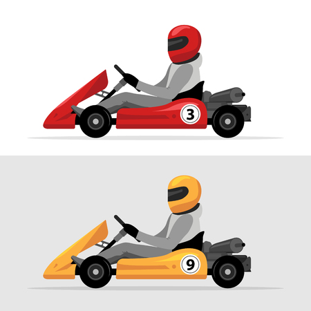 Kart driver sport background. Karting racing isolated, Man drive kart in helmet background design.
