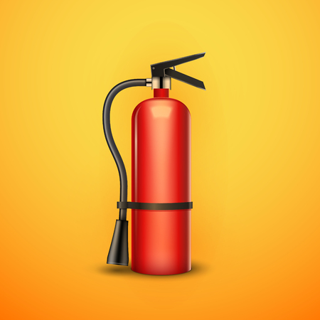 Fire extinguisher protection isolated. Red fire extinguisher emergency danger.