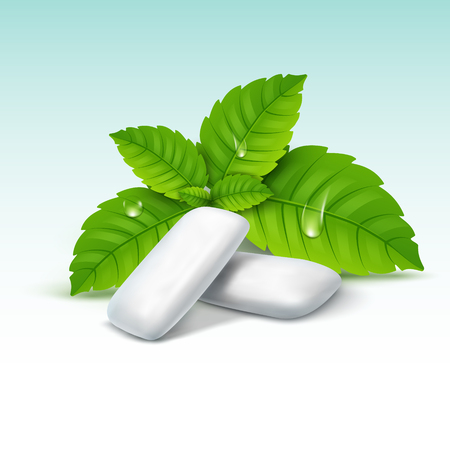 Vector chewing gum and green mint for fresh breath. Dental health background. Illustration
