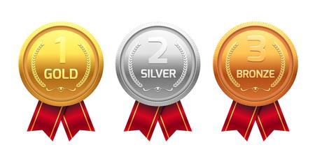 ゴールド メダル銀、銅賞を受賞します。勝者のチャンピオン金属病棟。ベクトル達成。  イラスト・ベクター素材
