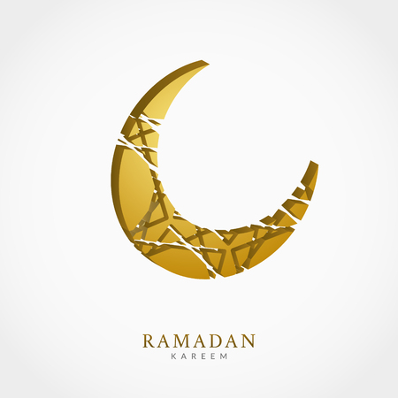 Creative vector crescent moon 3d greeting card design. Abstract arabic background.