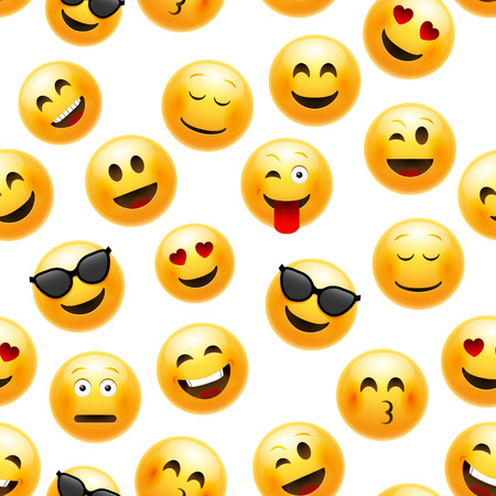 Emoji seamless pattern. Vector smiley face character illustration on white.
