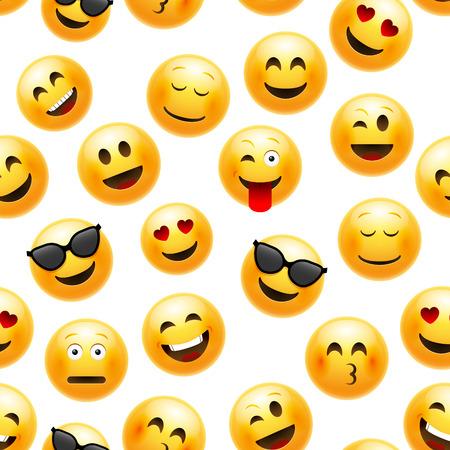 Wzór emoji. Charakter ilustracja wektorowa uśmiechniętą twarz na białym tle.
