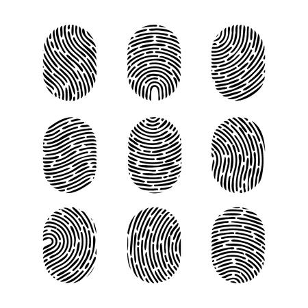 Conjunto de huella digital de vector. Huella digital de humano Icono de signo de crimen de seguridad. Identificación humana Foto de archivo - 87611964