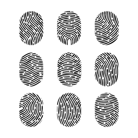Vector fingerprint set. Finger print of human. Security crime sign icon. Human id.