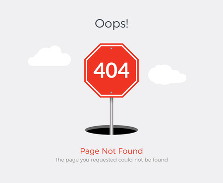 404 error page template for website. 404 alert flat design.