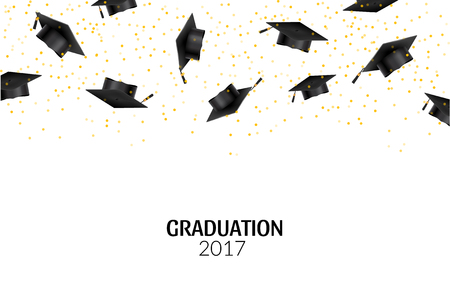 Graduate caps and gold confetti on white background. Education hat ceremony university achievement. Illustration