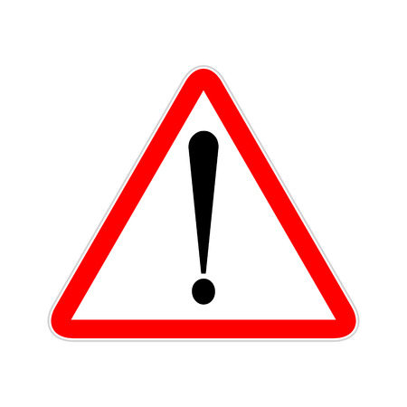 Attention sign symbol triangle. Caution icon exclamation. Alert road sign. Illustration