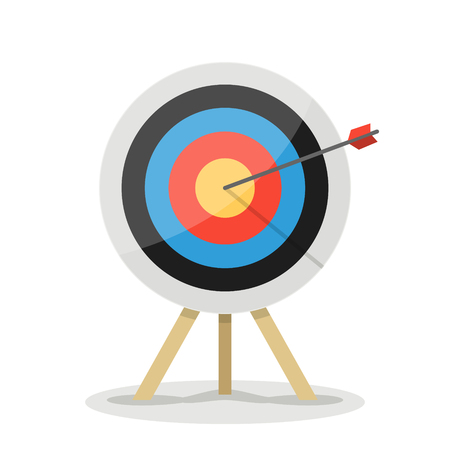 Target with arrow. Business success concept. Vector flat target isolated icon. Illustration