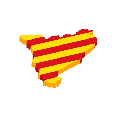 Una ilustración del icono de la bandera de la frontera del mapa de Cataluña 3d Barcelona.