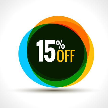 15 procent kortingsverkoop sticker. Kortingsprijsetiket. Vector promotie korting verkoop. Stock Illustratie