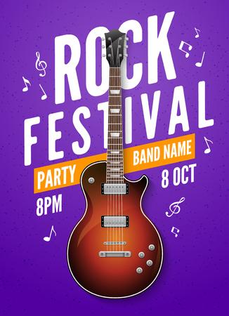 Rock festival flyer event design template. Guitar rock vector poster music band. Illustration